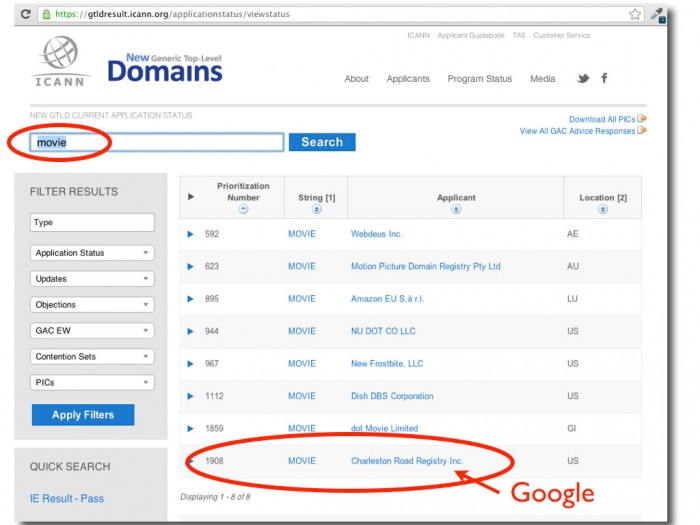 "Google is one of 8 companies that have applied for control of ""movie"" domain name"